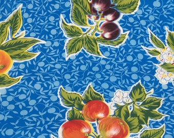Mexican Oilcloth Fabric--Blue & Assorted Fruits--Tablecloth/Apron/Place Mat/Tote Bag Fabric--Waterproof Fabric--Oilcloth by the HALF YARD