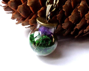 Bronze tone, bronze pendant glass globe necklace with real green moss and purple statices glass orb necklace
