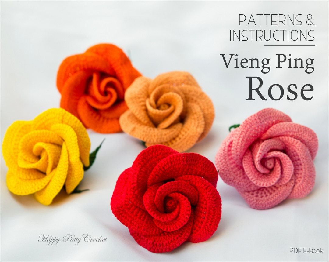Crochet Applique Pattern Vieng Ping Rose Crochet Rose