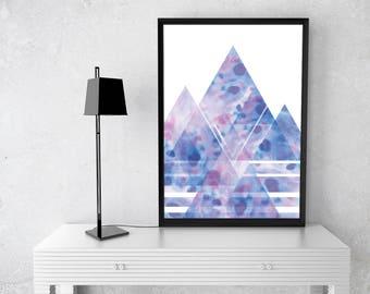 Printable Abstract Landscape Poster, Printable Wall Art, Home Decor, Minimalist, Modern, Geometric Large Print, Watercolour