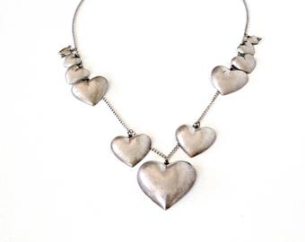 Vintage Heart Charm Necklace . Pididdly Links Necklace . vintage silver heart necklace . statement necklace silver . pididdly links jewelry