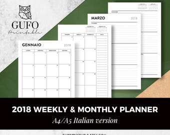 Italian Weekly Planner, 2018, Filofax A5 Planner Inserts,Italian Planner Pages, Dated Week on 2 Pages, Printable, Monthly Planner, Italiano