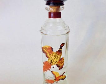 Vintage Decanter - Pheasant Bird in Flight - Glass Alcohol Bottle with Amber Glass Stopper