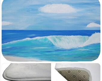 Surf Beach Sunset plush floor mat  from my art