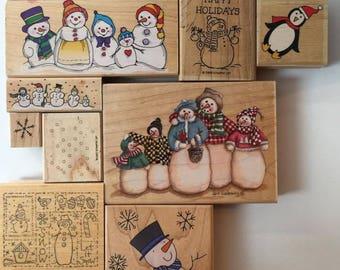 Snowman / Snow  Snowflake Rubber Stamps