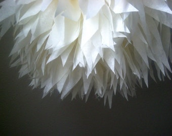 IVORY tissue paper pompom wedding decorations anniversary engagement christening baptism baby dedication bridal shower off white cream