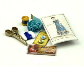Victorian Style Sewing Set Dolls House Miniature