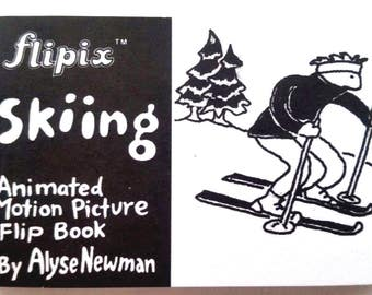 Flipix SKIING Animated Picture FLIP BOOK By Alyse Newman Mint Condition Shackman Co.