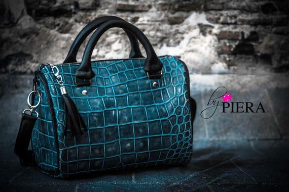 croc embossed bag, barrel bag, leather bag, leather satchel bag, leather handbag, turquoise leather bag
