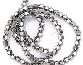 20 cubes, hematite, gray, silver beads