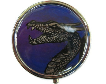 Dragon Pill Box Stash Case Silver