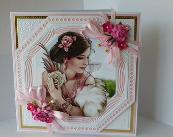 Art Deco Lady 3 D Decoupage,Have A wonderful Birthday,On Your Birthday,And A Gift card.