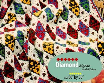 Afghan Crochet Pattern Diamond Design AF121