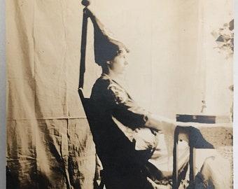 "Vintage Photo ""Iris and Her Costume"" Snapshot Antique Black & White Photograph Paper Found Ephemera Vernacular Interior Design Mood - 104"