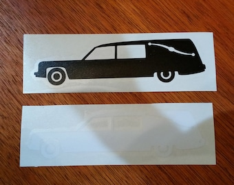 Hearse Vinyl Decal for Car Windows and Laptops