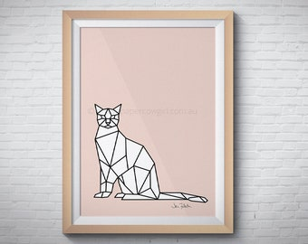 Pink cat, Printable wall art, Downloadable art, Instant download art, Geometric poster, Low poly, Cat prints, Pink art, Animal art prints