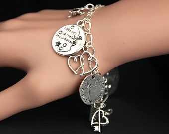Love Bracelet.  Romance Charm Bracelet. Romantic Bracelet. Silver Bracelet. Romantic Jewelry. Handmade Jewelry.