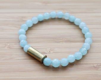 beaded bullet shell bracelet   blue
