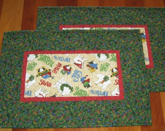 Quilted Winter Holiday Placemats, Set of 2