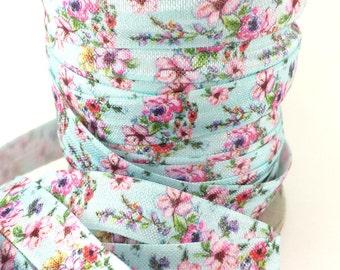 5/8 Blue vintage floral fold over elastic, FOE headband elastic for making diy hair ties, foldover  elastic by the yard
