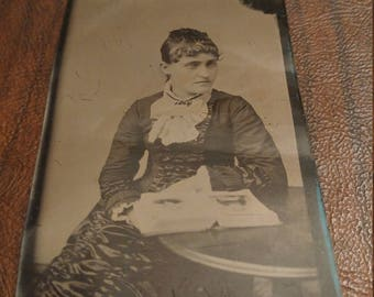 Mourning Mistress:  Antique Tintype Photograph of Woman Mourning Two People