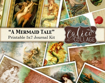 A Mermaid Tale, Junk Journal Kit, Printable Kit, Mermaid, Junk Journal, Digital Paer, Vintage Mermaids, Nautical, Ocean, Calico Collage