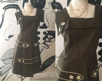Olive Green Vintage Pullover Dress