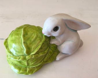 Vintage ceramic white bunny rabbit nibbling green cabbage pink nose blue collectible gift decoration collection present