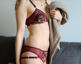 THISTLE Velvet Burgundy and Sheer Mesh Triangle Bralette and Bikini Panty Lingerie Set, Handmade to Order