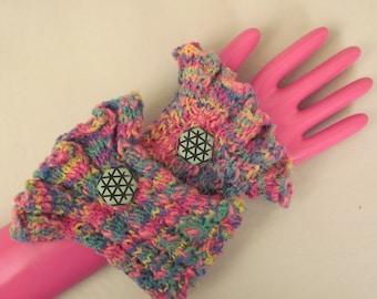 Wrist Cuffs Hand Warmers Hand Knit Cotton