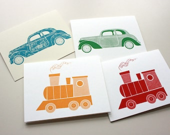Silkscreen Greeting Cards - Set of 4: Trains & Automobiles - Transportation Theme, Original Hand printed, Limited Ed