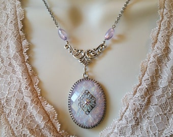 Lavender, Soft Purple, Vintage Style, Renaissance Necklace, Silver Plated, Gypsy Necklace, Bohemian Style, Purple Necklace, Purple Jewelry