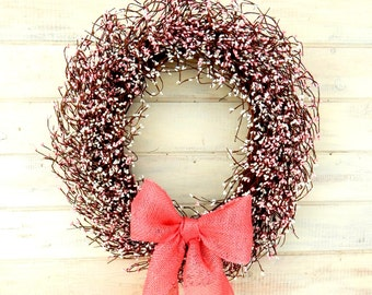 Spring Wreath-Spring Wedding Wreath-Baby Shower Decor-Breast Cancer Awareness-PINK BURLAP White & Pink Wreath-Large Berry Wreath-Shabby Chic