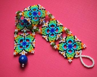 cottage windowpane open beadwork seed bead bracelet. multicolor Czech glass seed bead cuff bracelet for smaller wrists