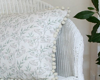 Sage Green Damask Linen Union Cushion with Cream Pom Pom Trim