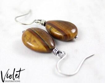 Tiger Eye Earrings / Sterling Silver Earrings / Wire Wrapped Jewelry / Wire Wrapped Earrings / Handmade Earrings / Tiger's Eye
