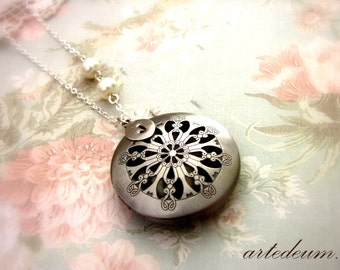 Antique silver locket necklace with swarovski pearls christmas gift for her xmas romantic rustic