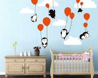 Penguins Penguin Cloud Balloon Wall Decal, Wall Decals Nursery, Baby Wall  Decal, Kids