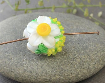 Lampwork Beads, Narcissus Glass Bead - 1 pc, Glass Beads, Floral Lampwork, Lampwork Flower Beads, Lampwork Flower, Lampwork Beads