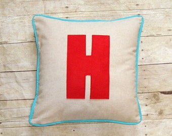 Custom Monogram Pillow Cover, Block Letter, Decorative Throw, Personalized Gift, Red and Blue Pillow, Chunky Letter Applique Initial
