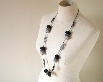 Wool Felted Pebbles Long Neckalce - 2 Ways to Wear it - Black and Grey