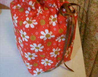Red Flowered Tissue Box/Toilet Paper Cover
