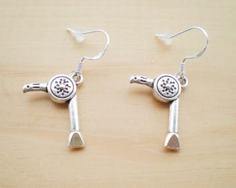 Hair Dresser Earrings, Hair Dryer Earrings, Charm Earrings, Jewelry Findings