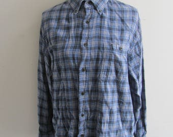 Mens Vintage 80s/90s Blue Plaid Flannel