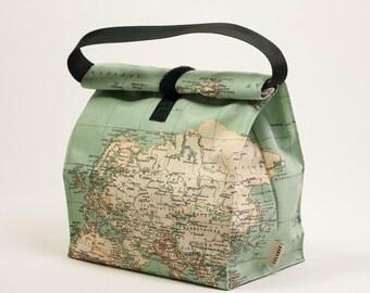 Worldmap bag. Reusable lunch bag. Eco food bag. Adult lunch bag. Teacher lunch bag. Waterproof lunch bag. Office lunch bag