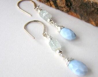 Peruvian Opal Earrings, Faceted Blue Teardrops, Aquamarine Gemstones, Sterling Silver Ear Wires, Dainty Gemstone Earrings, Long Dangle Style