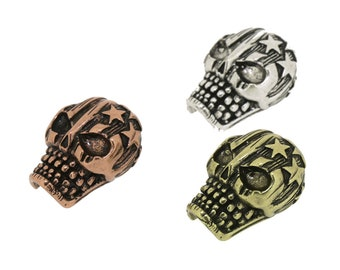 3Pcs 16*21mm Skull Shape Space Beads,Engraved Star Pattern,Religious Parts For DIY Jewelry Making,Brass Fittings,Antique Copper,Old Silver
