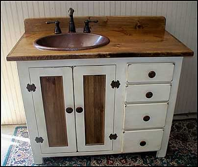Rustic Bathroom Vanities. Rustic Farmhouse Vanity   Copper Sink 42  Off White Bathroom With