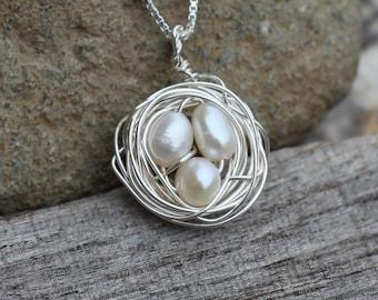Sterling Silver Birds Nest Necklace
