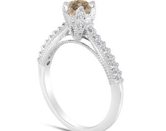 Fancy Champagne Brown Diamond Engagement Ring 0.50 Carat 14K White Gold Handmade Certified